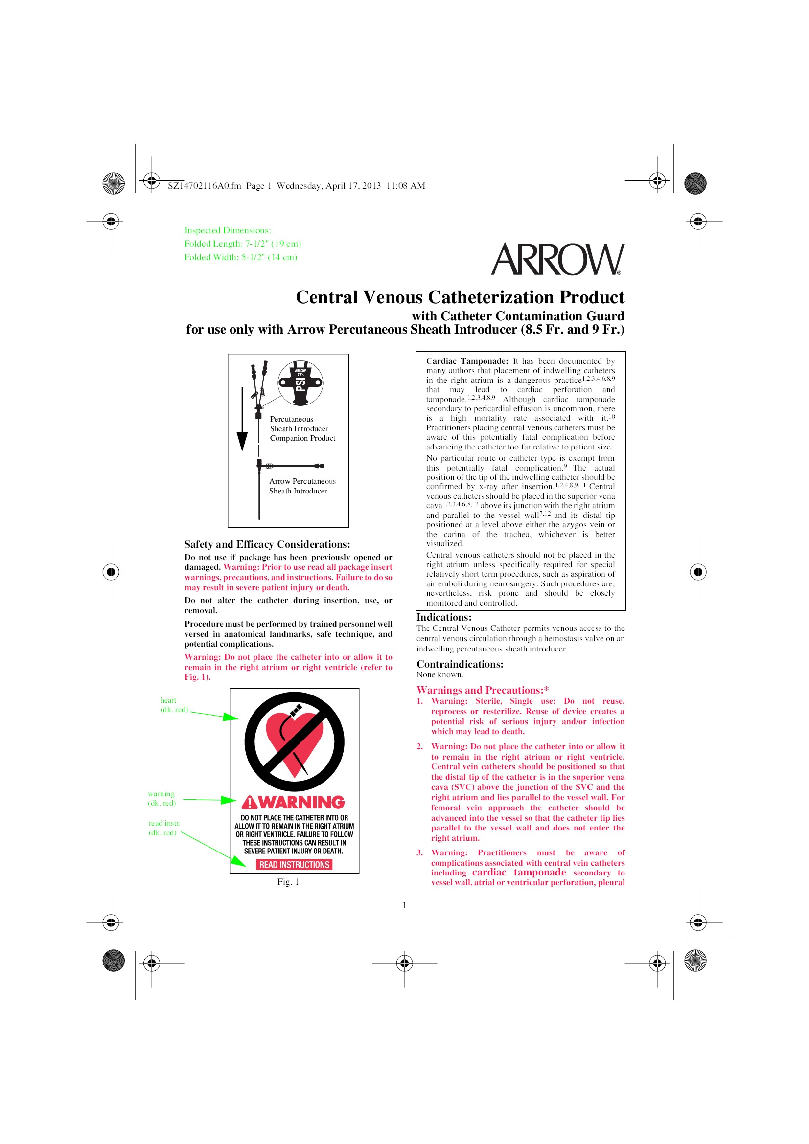 SS-14702 - Teleflex Incorporated - Vascular Access Product